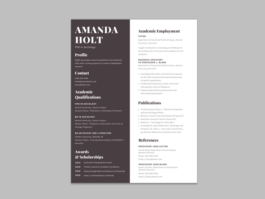 Free Academic Resume Template With Formal Design by Steven Han ...