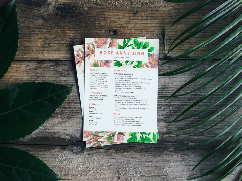 free resume template for florist by steven han dribbble dribbble