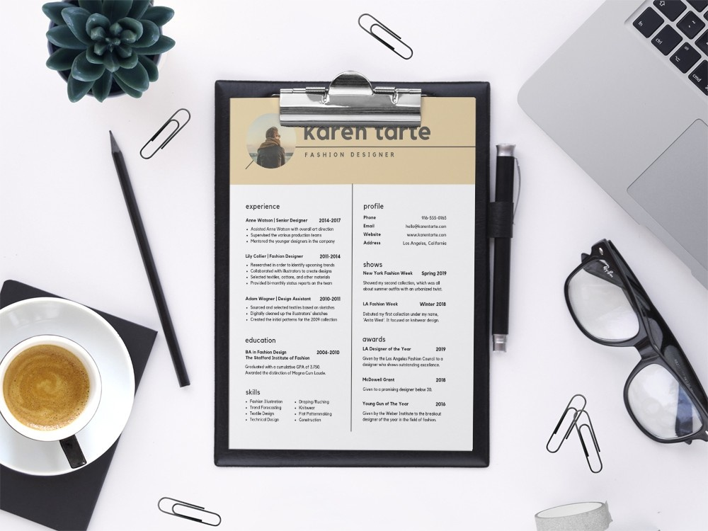 Free Fashion Designer Cv Template By Steven Han On Dribbble
