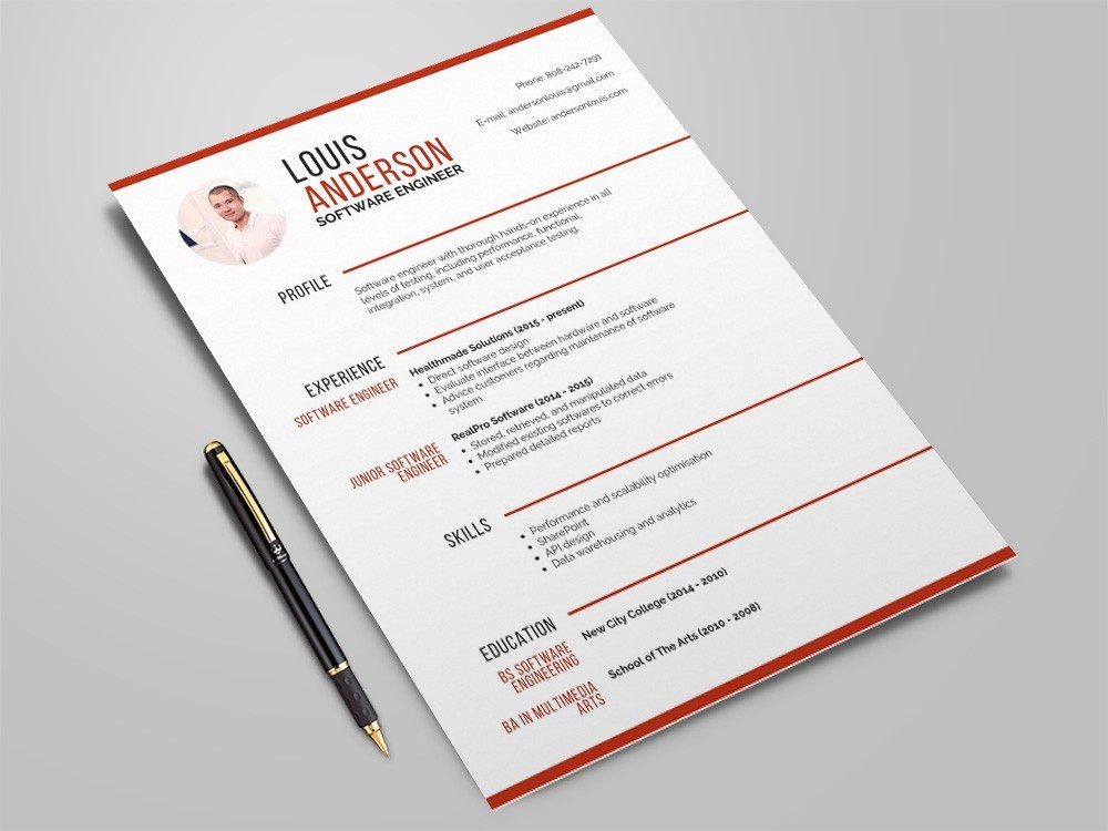Free Software Engineer Resume Template Cv Freebies Freebie