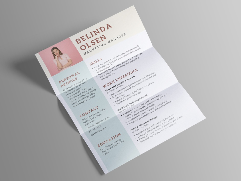 Free Marketing Manager Cv Template By Steven Han Dribbble Dribbble