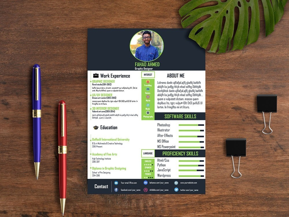Free Powerpoint Resume Template by Steven Han on Dribbble