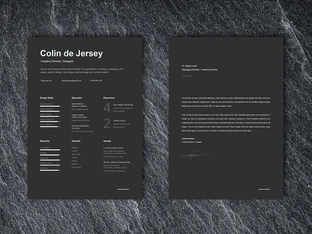 Free Black Resume Template + Cover Letter by Steven Han on ...