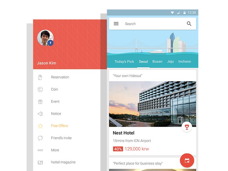 hottel - hotel reservation app travel material hotel hottel android mobile app cards menu material design card ui card
