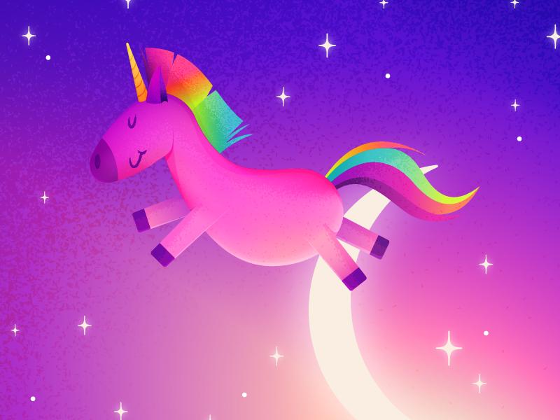 Magical Rainbow Unicorn cute sky night stars moon sparkle magical animal illustration neon rainbow unicorn