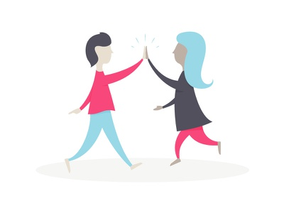 Partnership Illustration partner collaborate co-workers high-five people character empty state vector illustration
