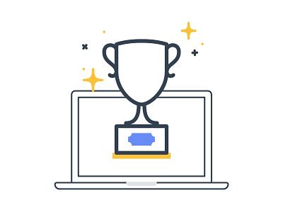 Champion illustration icon marketing champion trophy