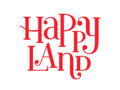 Happyland Logo happy hand lettering hand drawn red serifs typography brand logo