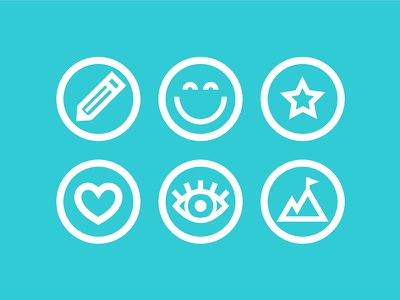 Fat Icons branding web design ui iconography emoji happy face thick lines icons