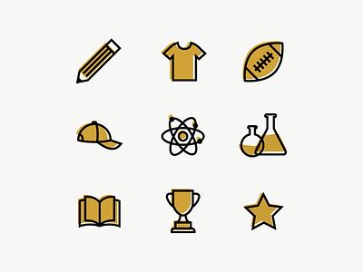 University Icons branding web design ui iconography thick lines icons
