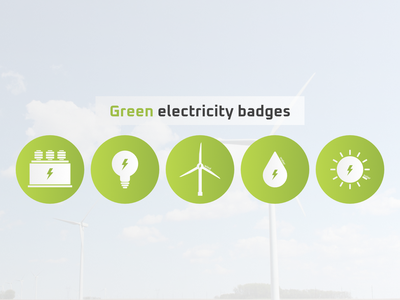 Green electricity badges gradient minimal minimalist power water solar wind green badges electricity design technology