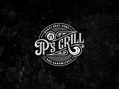 Vintage Logo JP's Grill vintage lettering design vector typography logo illustrator illustration branding art