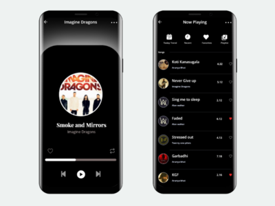 Music playlists black theme user interface mobile app design