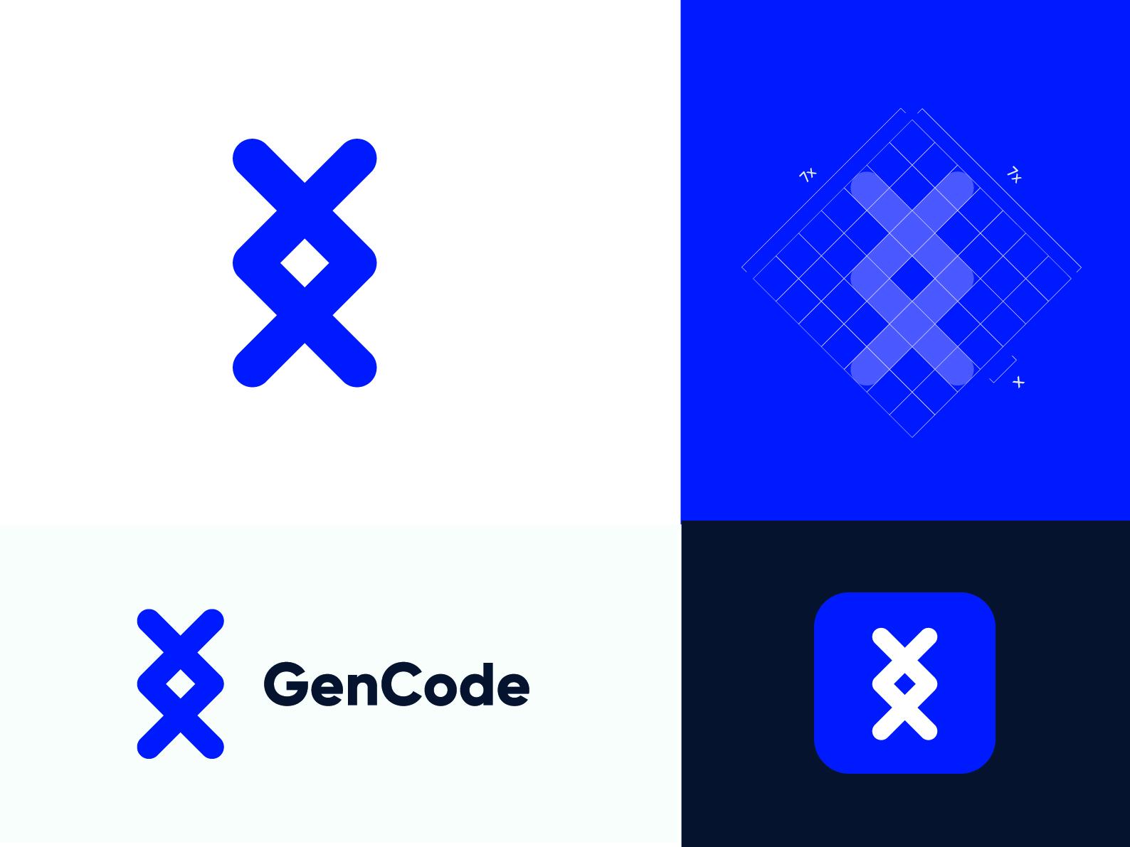 Gen + Code Colorful Logo Concept icon branding code illustration design typography logotype logo design logo