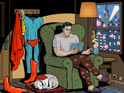 Heroes Stay at Home stayhome coronavirus digital editorial comic illustration