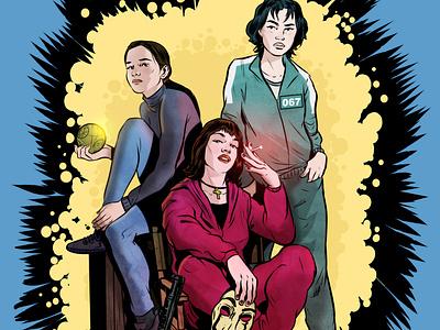 The Streaming Queens digitalillustration drawing streaming dark moneyheist squidgame ink comic portrait editorial illustration