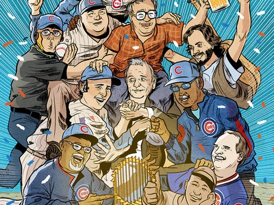...and the Chicago Cubs won! illustration sports comic bill murray chicago cubs editorial