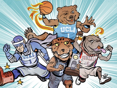 College Mascots! digital basketball college illustration comic espn
