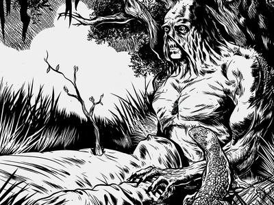 Swamp Thing tribute inks illustration homage berniewrightson