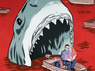 What could go wrong? editorial risk sharks illustration entrepreneur
