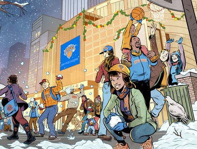 Holiday Card New York Knicks comic new york knicks sports illustration sports design