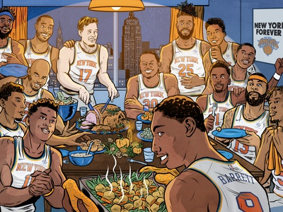 Thanksgiving at the Knicks illustration art advertising editorial comic thanksgiving sports illustration