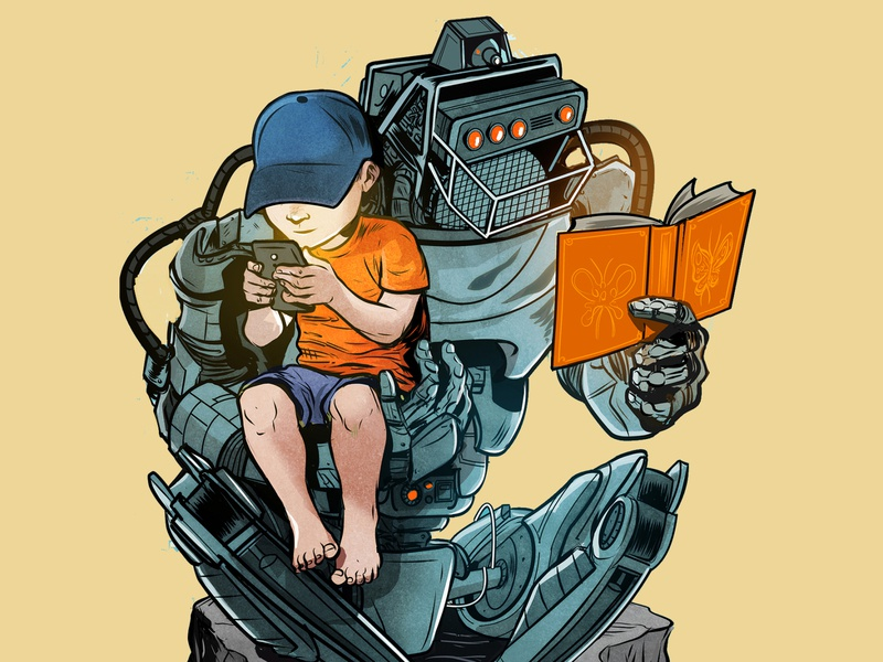 Learn digital comic children illustration robot