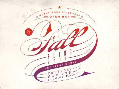 Fall Fling Announcement typography type gradient texture classy calligraphy handwritten poster postcard invitation orange purple
