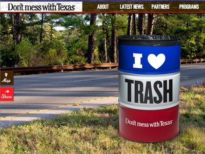 Don't mess with Texas Website website responsive gallery trash can logo nav wood
