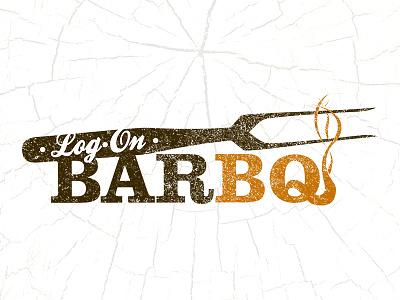 Log•On BarBQ Logo logo identity design texture orange brown smoke fork slab texas script