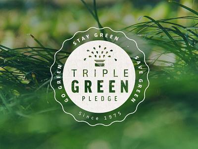 Triple Green Pledge Badge badge logo icon seal sprinkler system promo irrigation organic lawn mantra green grass