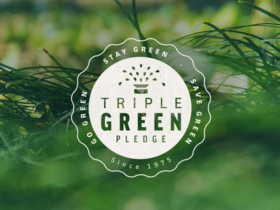 Triple Green Pledge Badge badge logo icon seal sprinkler system promo irrigation organic lawn mantra green grass