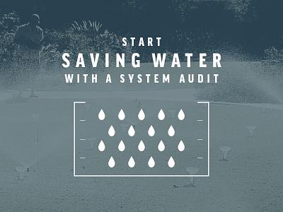 Water Audit Promo promo sprinkler system irrigation icon lawn water droplet measure conservation ruler blue