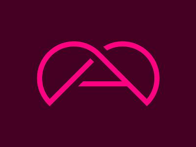 Atlas Foam Roller Logomark fitness health pink modern infinity heart identity logo a