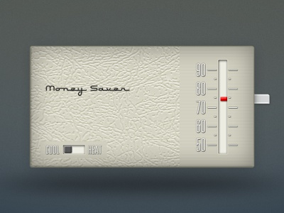 Retro Thermostat thermostat temperature summer energy control module air conditioning cool cooling heat money saver beige retro throwback dial type typography old shading depth