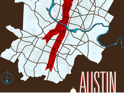 Austin Map austin map cartography transit poi compass neighborhood river roads brown blue red capital ribbon retro hipster screenprint poster art