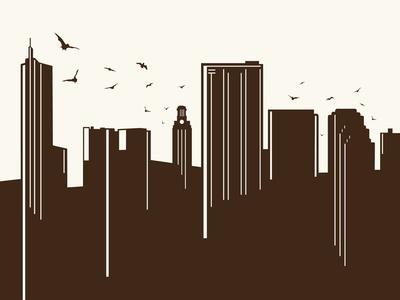Bats in the Austin Skyline austin map cartography poi skyline bats ut tower 360 buildings silhouette brown retro hipster screenprint poster art