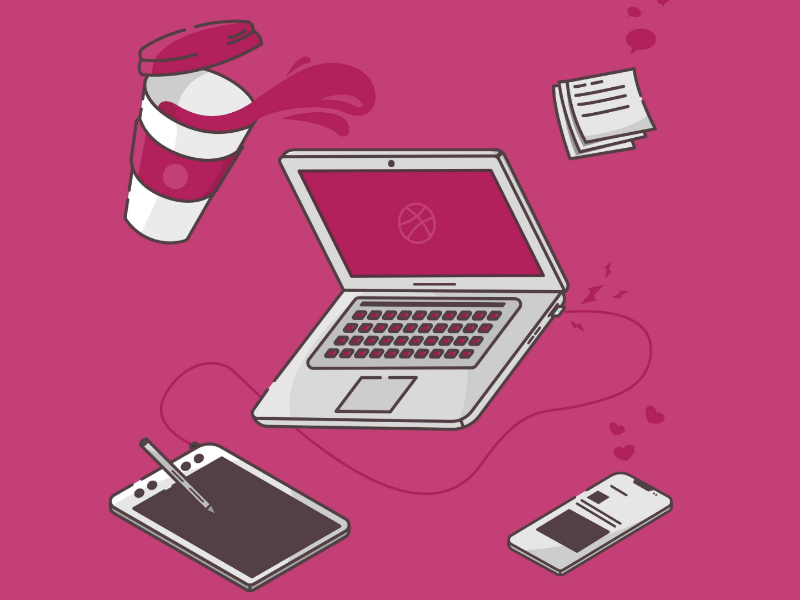 Design Tools mac iphone coffee illustration