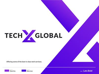 TechX Global Logo and Brand Identity Design tech company brand modern logo logo design branding identity design tech x x logo logo alphabet branding design logo first shot debut hello gradient