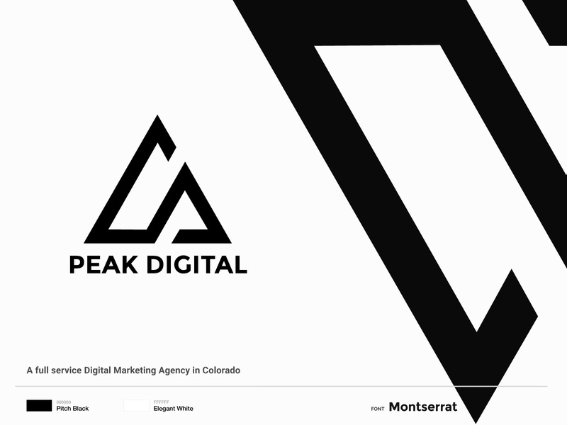 Peak Digital Logo and Brand Identity Design peak digital logo digital marketing company digital marketing minimalistic minimalism modern logo logo design logo brand identity identity branding identity design minimalist logo minimal black and white black  white monochrome debut branding design branding brand