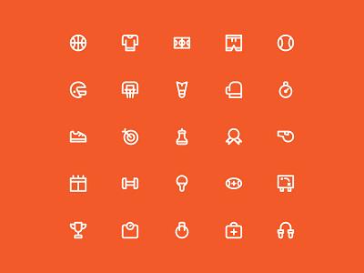 Sport Icon Set web game ux ui orange health athlete activity life style fitness people sport iconography design illustration icons pack icon app icons set icons icon