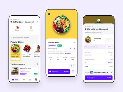 Foodzy App - Concept Design figma xd sketch mobile app design food delivery app food delivery food uiux ui kits ui kit design app kit ui kit app design