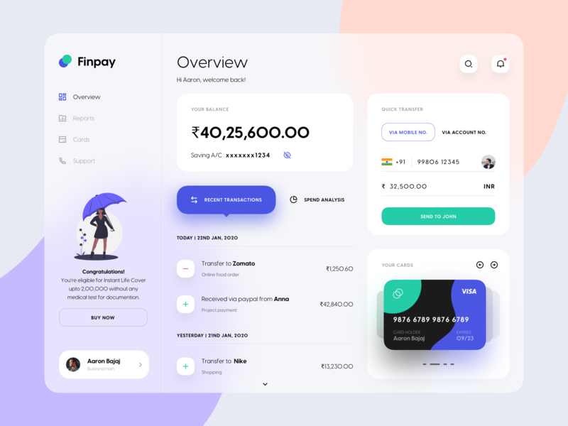 Finpay Dashboard UI | Banking ux financial app dashboard ui payment banking gradient design dribbble minimal dashboard ui