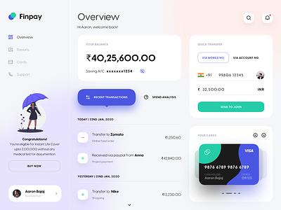 Finpay Dashboard UI   Banking ux financial app dashboard ui payment banking gradient design dribbble minimal dashboard ui