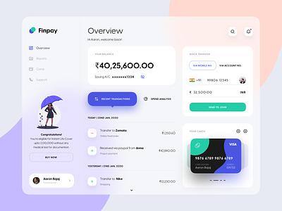 Finpay Dashboard UI | Banking ux financial app dashboard ui payment banking gradient design dribbble minimal dashboard ui
