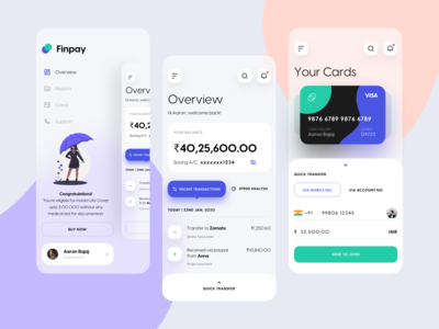 Finpay Mobile App UI | Banking payment app payment dashboad cards gradient bankingapp banking financial app minimal design ui