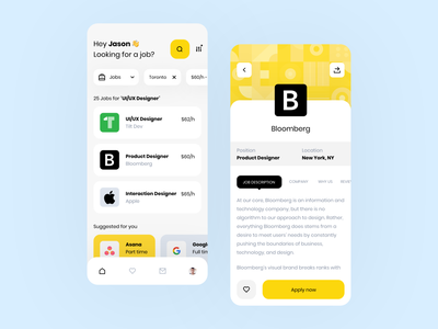Job Portal App | Concept icon yellow minimal ux design ui design app concept mobile app design mobile app job application job portal job