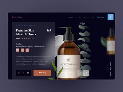 Royalty Skincare - Product page design ecommerce shopping cart ui serif ux design ui design landing page product page skincare dark theme websitedesign