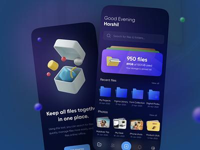 File Manager App - UI Design dark ui 3d illustration 3d ux design ui design mobile app app design file manager
