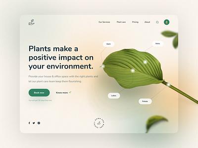 Plant Care Landing Page Design website green nature clean minimal uiux ui design website design plant website plant ui